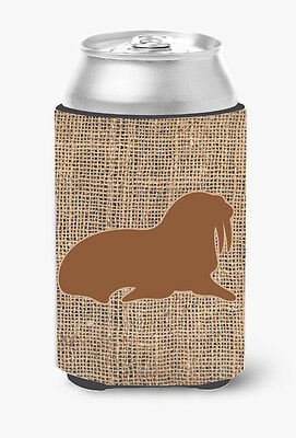 Walrus Burlap and Brown Can or Bottle Beverage Insulator Hugger