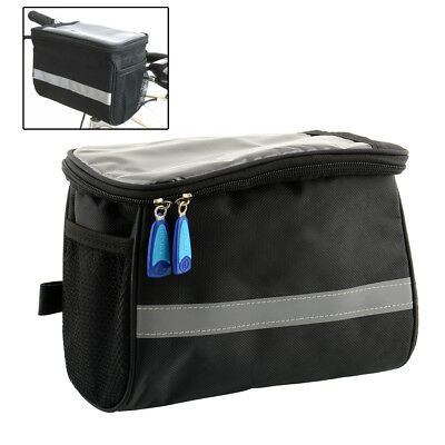 Black Bike MTB Bicycle Handlebar Bar Front Basket Tool Bag Pannier Useful