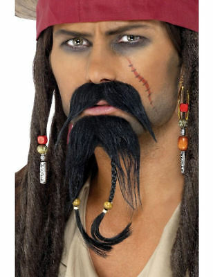 Mens Caribbean Pirate Beard and Moustache Fancy Dress Costume Outfit Accessory