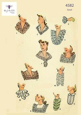 Vintage 1940s Sewing Pattern Collar Set Accessories Occasions Size Small WWll