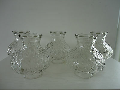 5 Antique Clear Glass Hurricane Chandelier Dome Shades