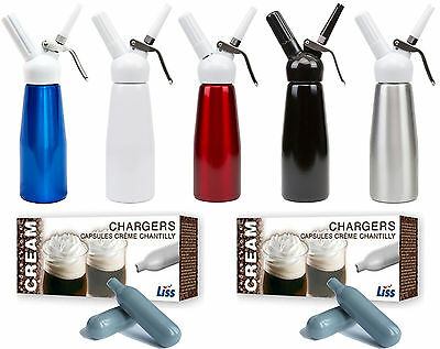 Whipped Cream Chargers Liss 8g Nitrous Oxide Gas Canisters 1/2L Dispenser N2O