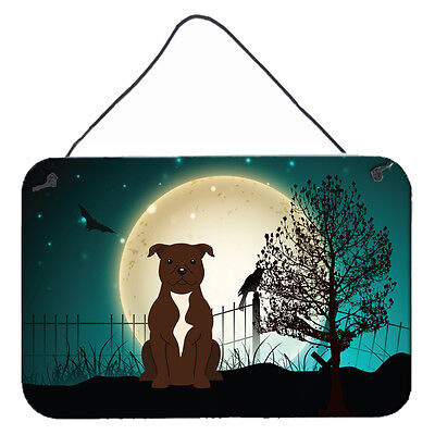 Halloween Scary Staffordshire Bull Terrier Chocolate Wall or Door Hanging Prints