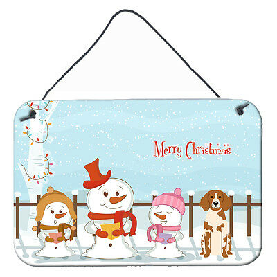 Merry Christmas Carolers Brittany Spaniel Wall or Door Hanging Prints