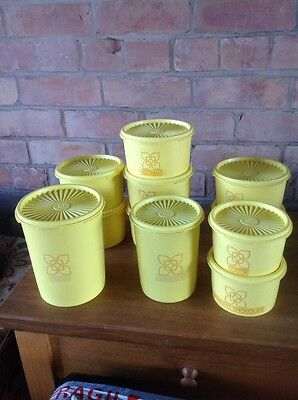 Vintage Tupperware Storage Containers Yellow Harvest Fluted Lids Set Of 11 Retro