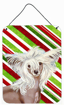 Chinese Crested Candy Cane Holiday Christmas Wall or Door Hanging Prints