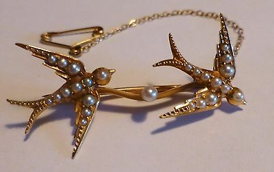 Antique Edwardian Two Swallows Brooch - 15ct