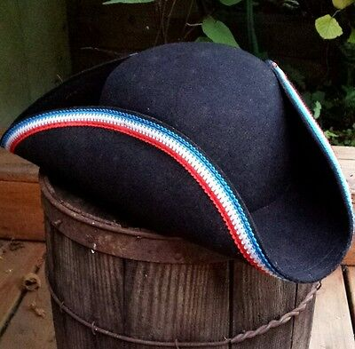 VTG Adult Tricorn Patriot Hat 100% Wool Colonial Costume Halloween New England L
