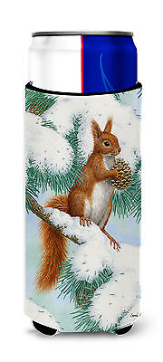Red Squirrel with Pine Cone Ultra Beverage Insulators for slim cans