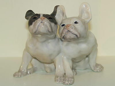 Rare Royal Copenhagen Figurine, two French Bulldogs from 1898-1923