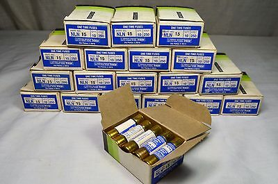 Tracor Littelfuse NLN 15 250 Volt One Time Fuses Box of 10 NOS