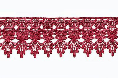 """3"""" Turquoise Black Lilac Pink Green Navy Red White Gray Venice Embroidery Lace"""