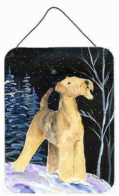 Starry Night Airedale Aluminium Metal Wall or Door Hanging Prints