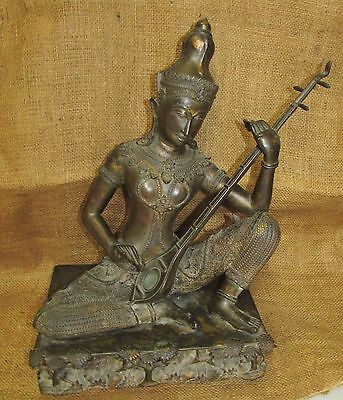 Antique Asian Oriental Thai Gold Splashed Bronze Sculpture Musician