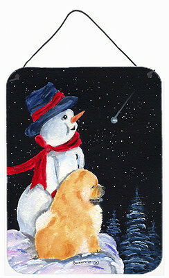 Snowman with Chow Chow Aluminium Metal Wall or Door Hanging Prints