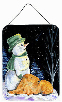 Snowman with Lakeland Terrier Aluminium Metal Wall or Door Hanging Prints