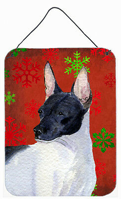 Rat Terrier Red Snowflakes Holiday Christmas Wall or Door Hanging Prints