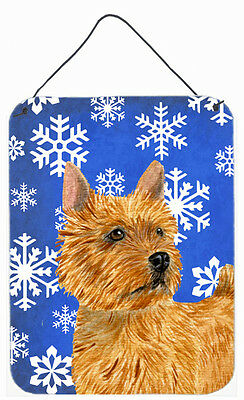 Norwich Terrier Winter Snowflakes Holiday Wall or Door Hanging Prints