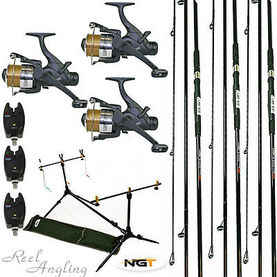 Carp Fishing Kit 3 Rods Carp'runner' Reels Bite Alarms, Rod Pod  Ngt Tackle