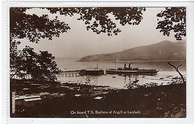 "CLYDE STEAMER ""DUCHESS OF ARGYLL"" AT LAMLASH: Isle of Arran postcard (C21482)"