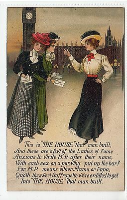 """THIS IS THE HOUSE THAT MAN BUILT"": Women's Suffrage postcard (C21487)"