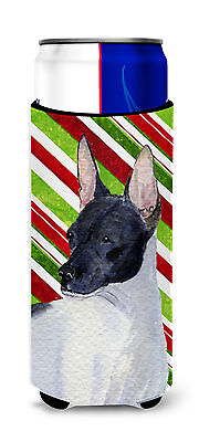 Rat Terrier Candy Cane Holiday Christmas Ultra Beverage Insulators for slim cans