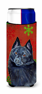Schipperke Red and Green Snowflakes Holiday Christmas Ultra Beverage Insulators