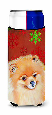 Pomeranian Red and Green Snowflakes Holiday Christmas Ultra Beverage Insulators