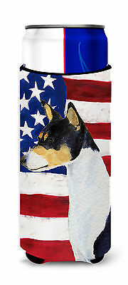 USA American Flag with Basenji Ultra Beverage Insulators for slim cans