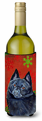 Schipperke Red and Green Snowflakes Holiday Christmas Wine Bottle Beverage Insul