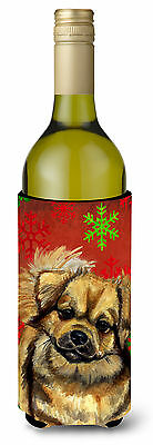 Tibetan Spaniel Red Green Snowflake Holiday Christmas Wine Bottle Beverage Insul