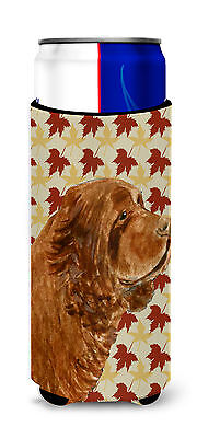 Sussex Spaniel Fall Leaves Portrait Ultra Beverage Insulators for slim cans