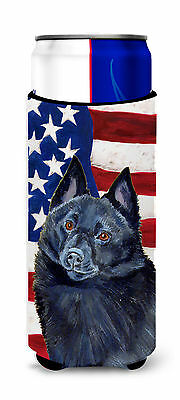 USA American Flag with Schipperke Ultra Beverage Insulators for slim cans