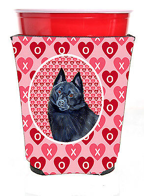 Schipperke Valentine's Love and Hearts Red Solo Cup Beverage Insulator Hugger