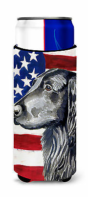 USA American Flag with Flat Coated Retriever Ultra Beverage Insulators for slim