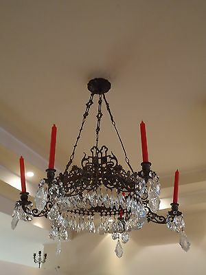 19th CENTURY ANTIQUE GOTHIC CHANDELIER WITH CRYSTALS SANCTUARY MEDIEVAL CASTLE