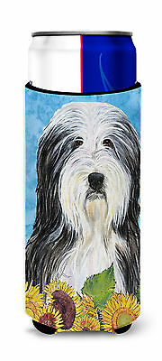 Bearded Collie in Summer Flowers Ultra Beverage Insulators for slim cans