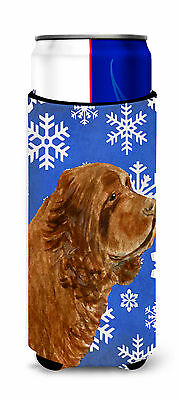Sussex Spaniel Winter Snowflakes Holiday Ultra Beverage Insulators for slim cans