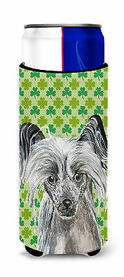 Chinese Crested St Patrick's Irish Ultra Beverage Insulators for slim cans