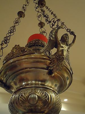 1900ca ANTIQUE SANCTUARY LIGHT LAMP SILVER BRASS CHURCH LAMP GOTHIC CHANDELIER