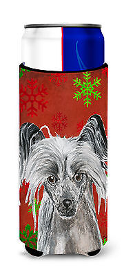Chinese Crested Red Snowflake Christmas Ultra Beverage Insulators for slim cans