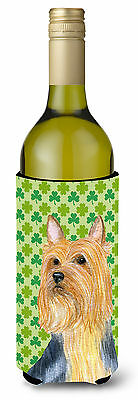 Silky Terrier St. Patrick's Day Shamrock Portrait Wine Bottle Beverage Insulator