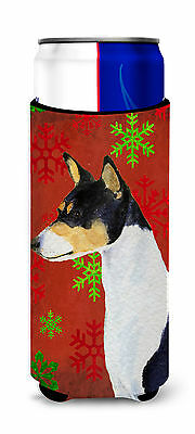 Basenji Red and Green Snowflakes Holiday Christmas Ultra Beverage Insulators for