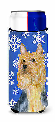 Silky Terrier Winter Snowflakes Holiday Ultra Beverage Insulators for slim cans