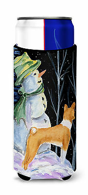 Snowman with Basenji Ultra Beverage Insulators for slim cans