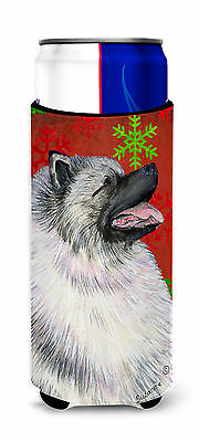 Keeshond Red and Green Snowflakes Holiday Christmas Ultra Beverage Insulators fo