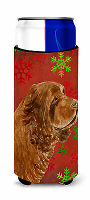 Sussex Spaniel Red Green Snowflake Holiday Christmas Ultra Beverage Insulators f