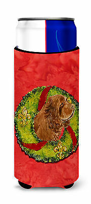 Sussex Spaniel Cristmas Wreath Ultra Beverage Insulators for slim cans
