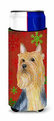 Silky Terrier Red Green Snowflake Holiday Christmas Ultra Beverage Insulators fo