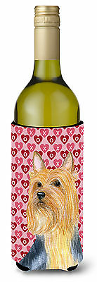 Silky Terrier Hearts Love  Valentine's Day Portrait Wine Bottle Beverage Insulat